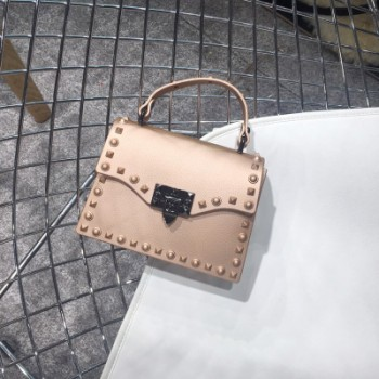Ladies Shoulder Bag Metal Rivet Clutches Square PVC Transparent Jelly Luxury Crossbody Bag Handbag
